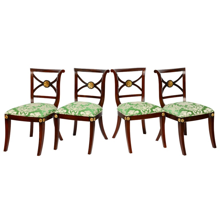 Regency Klismos Dining Chairs, Highly Carved Gilt Details, 19th Century