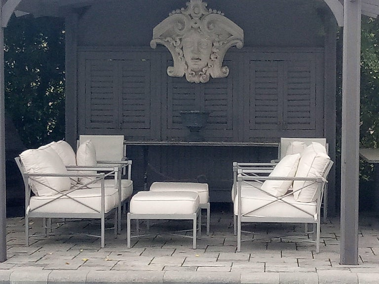 Create a chic luxury garden setting on your patio or terrace!  Midcentury Modern 6 piece set of lounge chairs-this is part of a larger set of 16 piece total- superb stylish pavilion aluminum garden furniture- Four comfy thick cushion lounge chairs