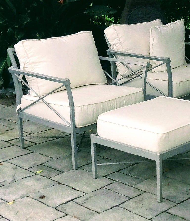 Mid-Century Modern MCM Set of 6- Garden Lounge Chairs and Two Ottoman-Chic X Design For Sale
