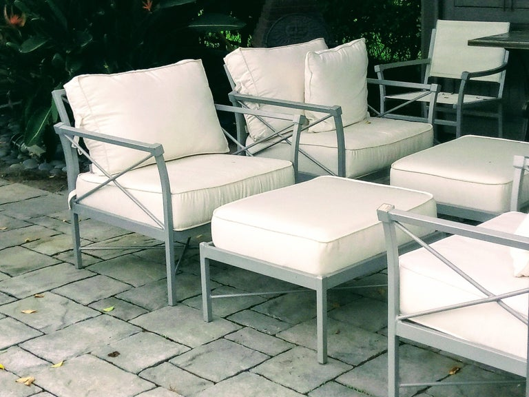 American MCM Set of 6- Garden Lounge Chairs and Two Ottoman-Chic X Design For Sale