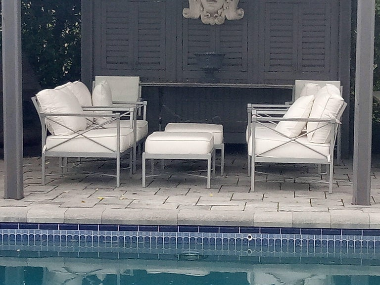 MCM Set of 6- Garden Lounge Chairs and Two Ottoman-Chic X Design In Good Condition For Sale In West Palm Beach, FL