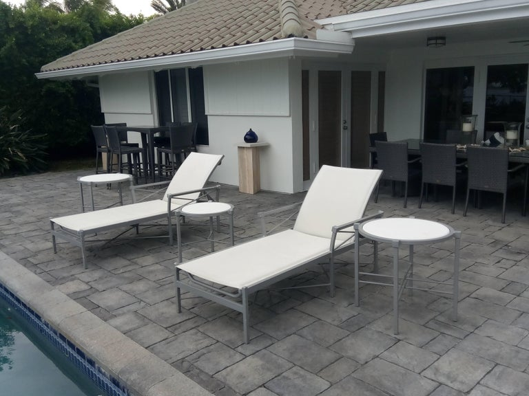 20th Century MCM Set of 6- Garden Lounge Chairs and Two Ottoman-Chic X Design For Sale