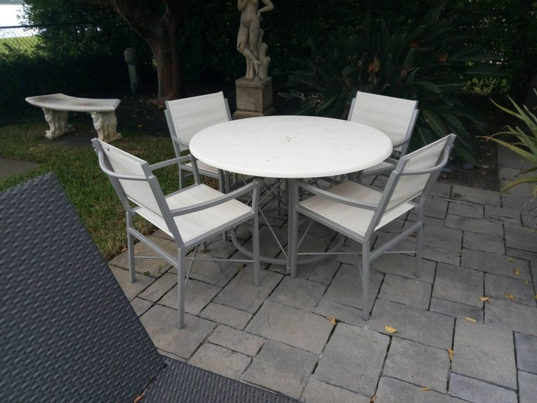 Aluminum MCM Set of 6- Garden Lounge Chairs and Two Ottoman-Chic X Design For Sale