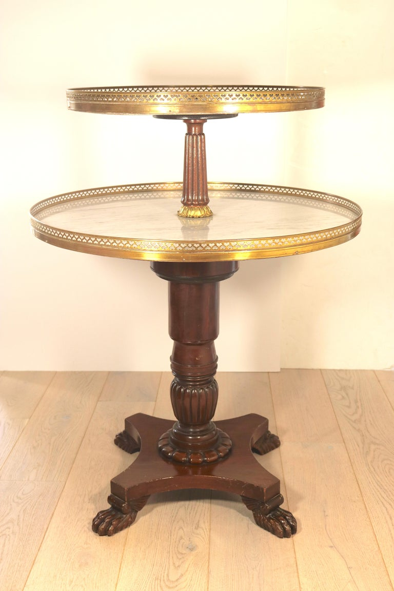 A most auspicious occasion deserves dessert served in Rothschild style!! From a Socialite's table to your home. Classical finely detailed mahogany brass-mounted two-tier dessert serving table-Dumb Waiter, swivel around for accessibility, The round