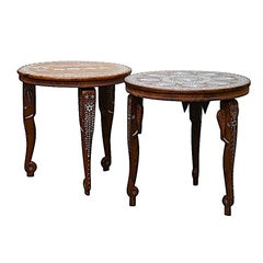 Anglo Indian Bone Wood Pair Side Tables Elephant Legs-Peacock & Elephant Inlay