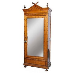 American Mirrored Faux Bamboo Armoire circa 1880 Attributed to R.J.Horner