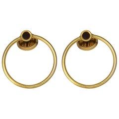 Vintage Sherle Wagner 22-K Gold Tiger Eye Gemstone-Pair Towel Bath Rings