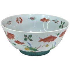 Large Centerpiece Hand-Painted Bowl with Floating Goldfish