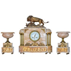Fine Egyptian Revival Onyx Doré Bronze Clock and Garnitures after Bayre