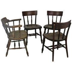 Set Five Original Early Thonet Windsor Captain's Chairs with Labels-4 Side/1 Arm