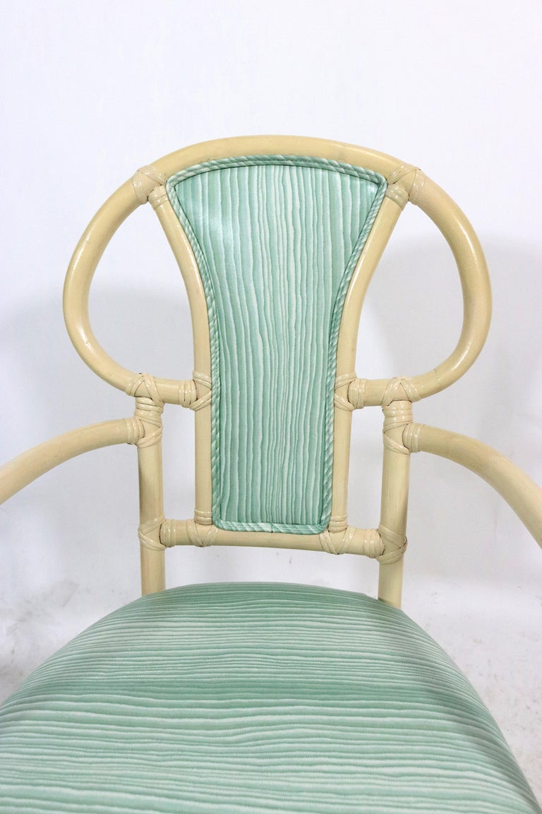20th Century Pair of Rattan Armchairs, Willow and Reed, Midcentury, Brunschwig & Fils Fabric For Sale