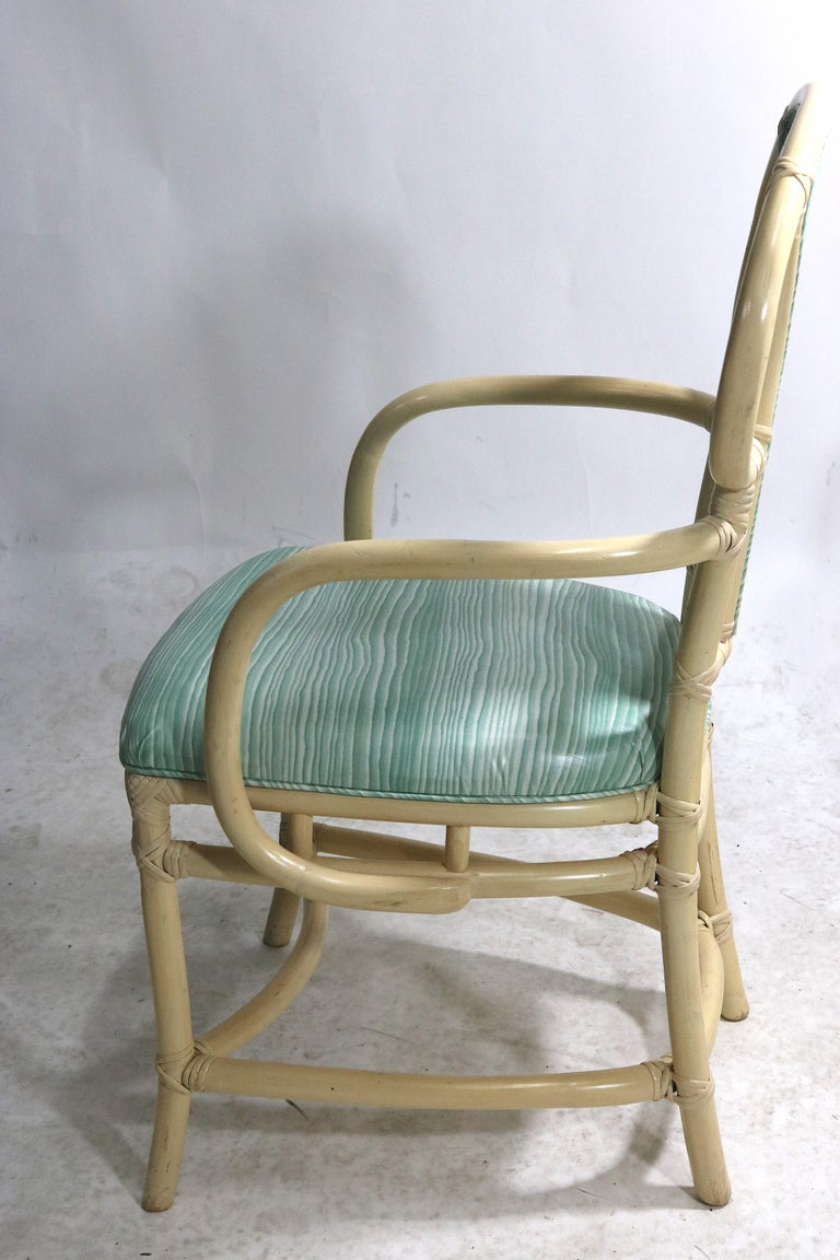 Pair of Rattan Armchairs, Willow and Reed, Midcentury, Brunschwig & Fils Fabric For Sale 2