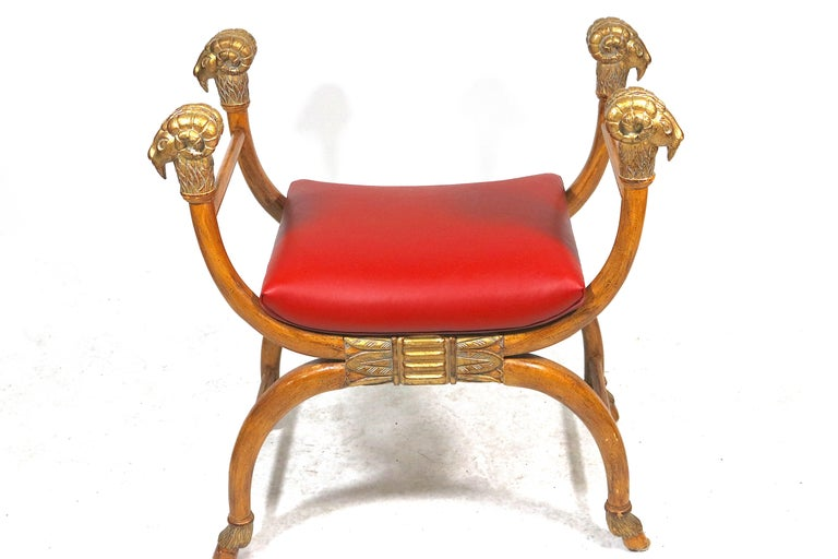 Hand-Carved Exotic Ram's Head Wood Carved Gilt Bench Egyptian Revival-Red Leather-Midcentury For Sale
