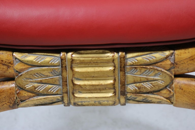 Exotic Ram's Head Wood Carved Gilt Bench Egyptian Revival-Red Leather-Midcentury For Sale 3