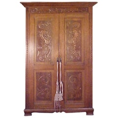 Scottish Oak Armoire with Superb Fantastical Carvings, Audaces, Fortuna, Juve
