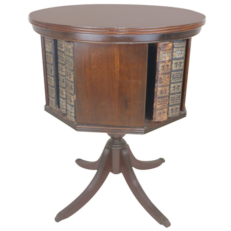 Duncan Phyfe Round Table With Drawer.Rare Revolving Bookcase Side Table Marquetry Inlay Star Duncan Phyfe Style