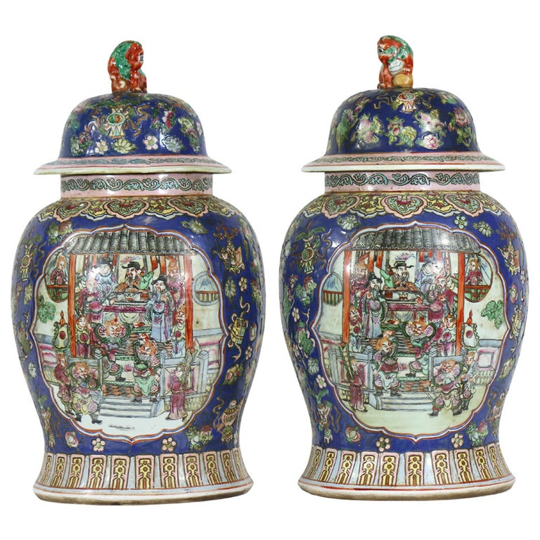 Pair of Large Chinese Porcelain Cobalt Covered Ginger Jars with Foo Dog For Sale