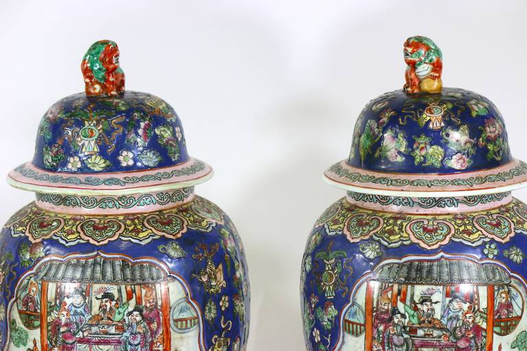 Hand-Painted Pair of Large Chinese Porcelain Cobalt Covered Ginger Jars with Foo Dog For Sale