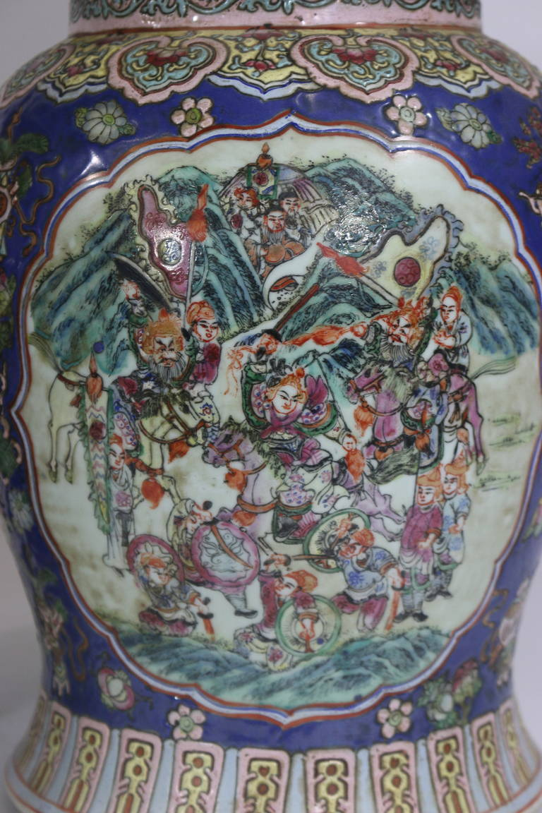 19th Century Pair of Large Chinese Porcelain Cobalt Covered Ginger Jars with Foo Dog For Sale