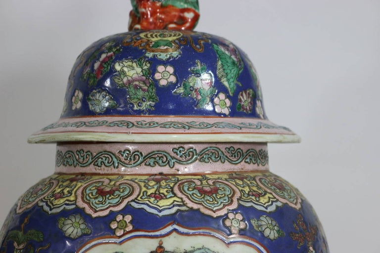 Pair of Large Chinese Porcelain Cobalt Covered Ginger Jars with Foo Dog For Sale 1