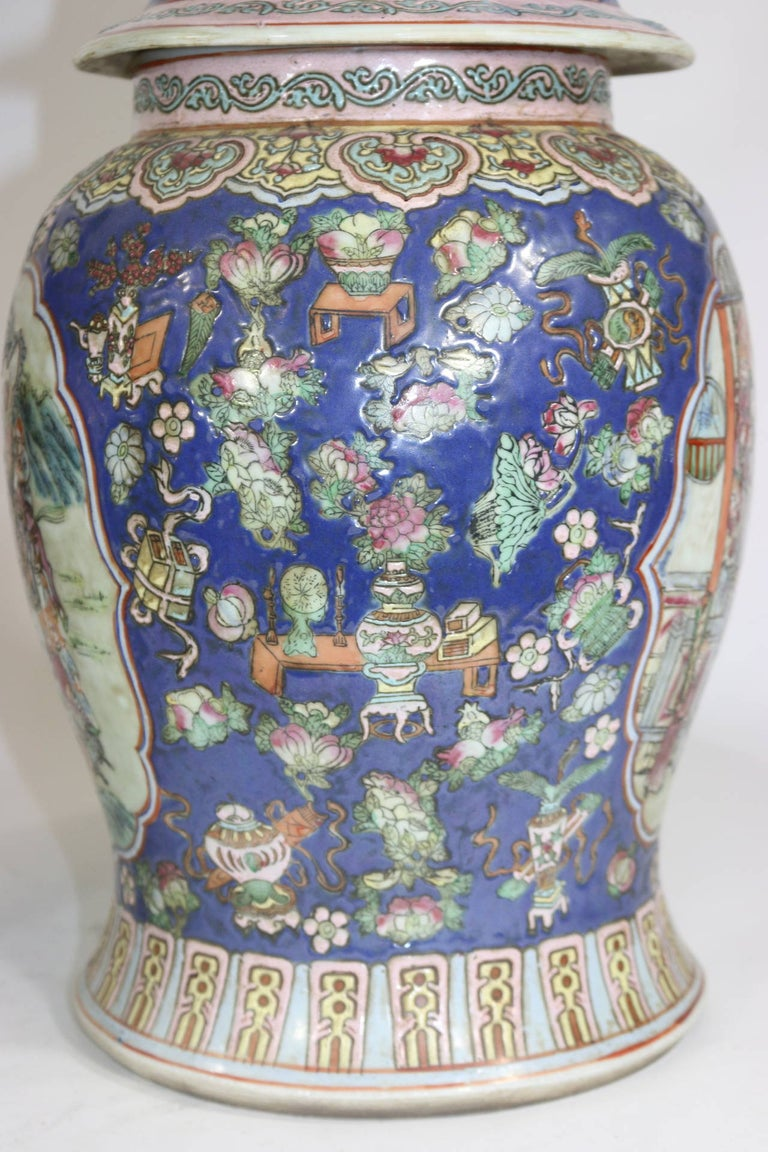 Pair of Large Chinese Porcelain Cobalt Covered Ginger Jars with Foo Dog For Sale 2
