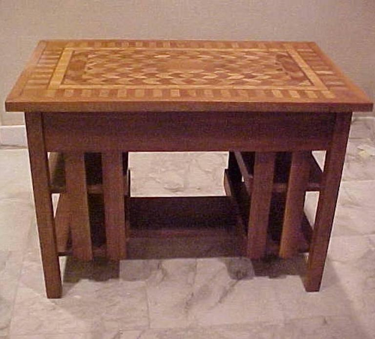 Arts U0026 Crafts Stickley Mission Writing Library Table Marquetry Top 2