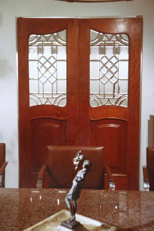 Neoclassical Antique Leaded Glass Doors Inset In Mahogany Raised Panel Doors  For Sale