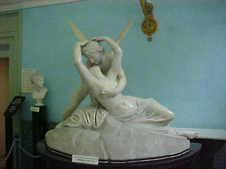 Palatial Marble Sculpture By Barzanti.  'Cupid's Kiss' on Marble Pedestal For Sale 1