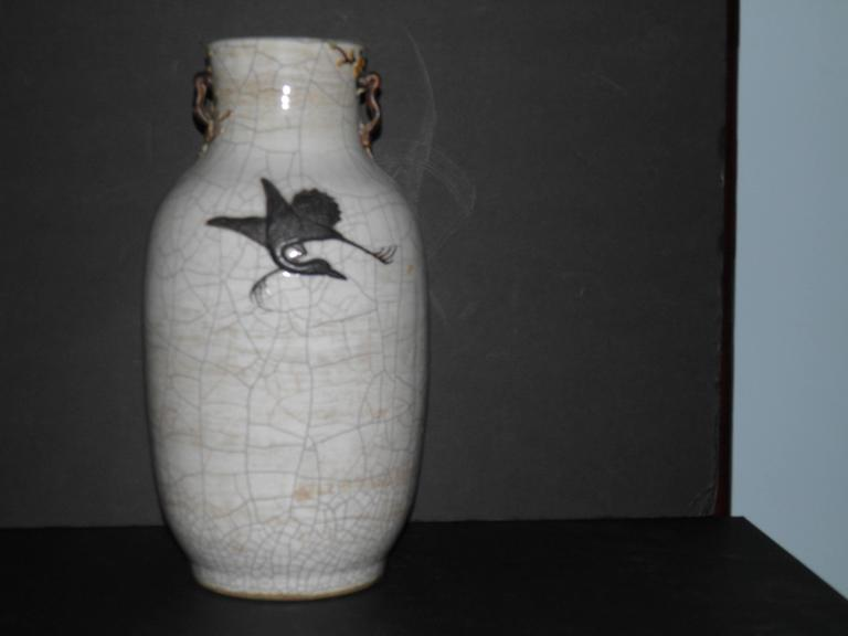 19th Century circa 1875 Chinese Celadon Crackleware Dragon Baluster Vase with Provenance For Sale