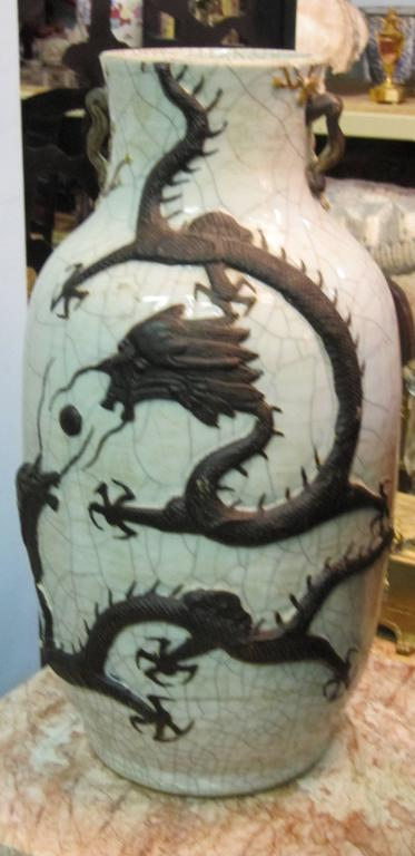 Qing circa 1875 Chinese Celadon Crackleware Dragon Baluster Vase with Provenance For Sale