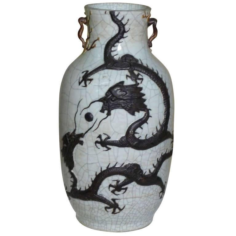 circa 1875 Chinese Celadon Crackleware Dragon Baluster Vase with Provenance For Sale