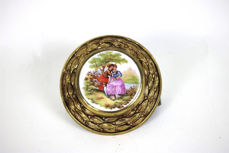 French Antique Pair of Porcelain Fragonard Brass Door/Tie Backs with Two-Drawer Pulls For Sale