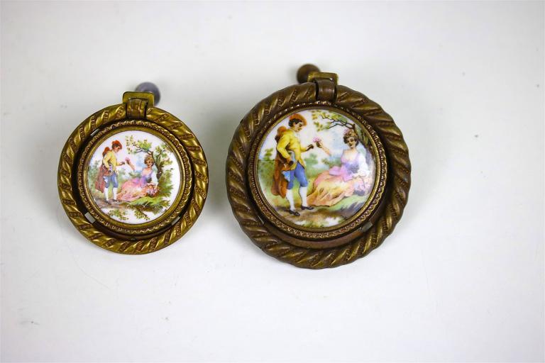 Baroque Antique Pair of Porcelain Fragonard Brass Door/Tie Backs with Two-Drawer Pulls For Sale