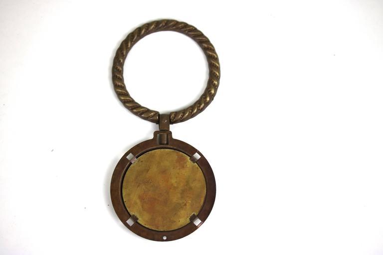 Antique Pair of Porcelain Fragonard Brass Door/Tie Backs with Two-Drawer Pulls For Sale 1