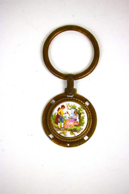 Antique Pair of Porcelain Fragonard Brass Door/Tie Backs with Two-Drawer Pulls For Sale 2