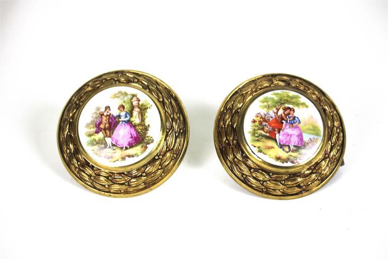 Antique Pair of Porcelain Fragonard Brass Door/Tie Backs with Two-Drawer Pulls For Sale 3