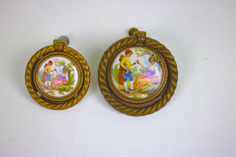 Antique Pair of Porcelain Fragonard Brass Door/Tie Backs with Two-Drawer Pulls For Sale 4