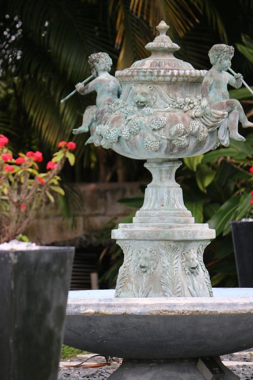 Superb Cascading Bronze Verdigris Fountain- Flute Playing Puttis- Lions-Provenan For Sale 3