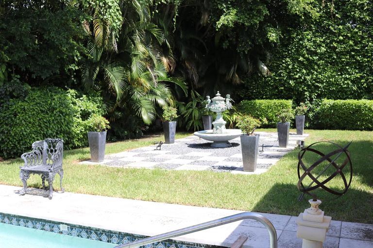 Italian Superb Cascading Bronze Verdigris Fountain- Flute Playing Puttis- Lions-Provenan For Sale