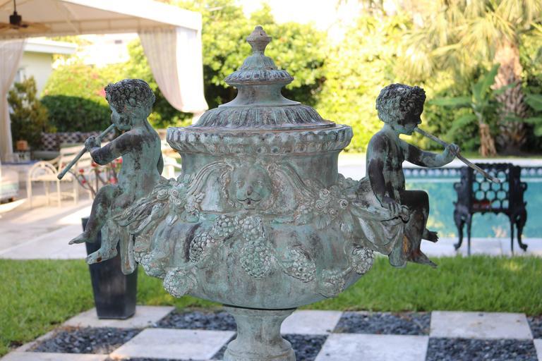Superb Cascading Bronze Verdigris Fountain- Flute Playing Puttis- Lions-Provenan For Sale 1