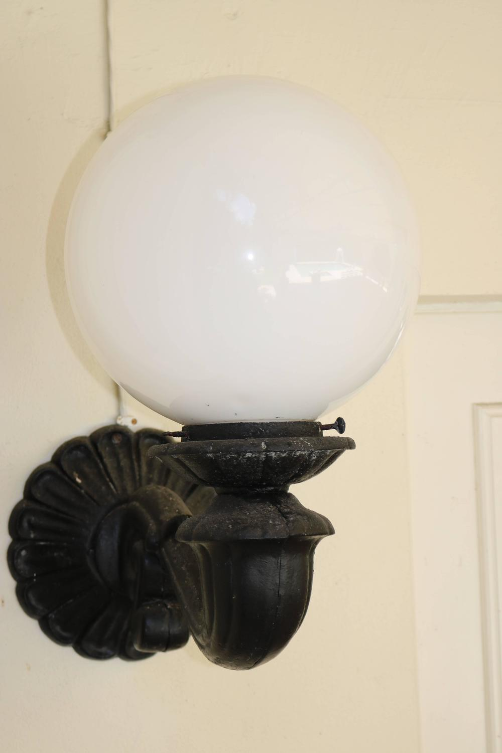 Grand Scale Pair of Large Beaux Arts Globe Wall Sconces, Exterior or Interior For Sale at 1stdibs