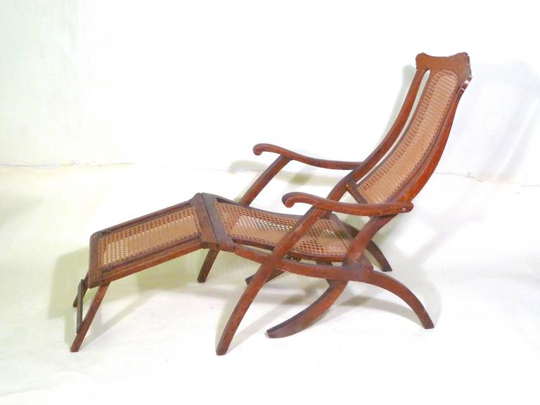 Late Victorian/Edwardian traveling on the great steamer ships of that era  would have been - Antique Folding Luxury Wood Steamer Deck Chair, Circa 1890, England