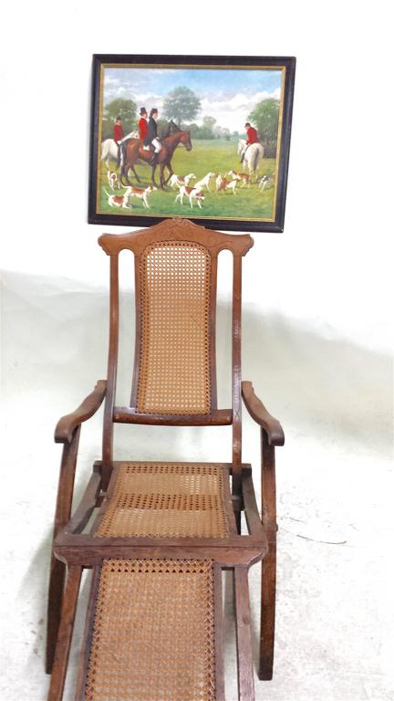 Victorian Antique Folding Luxury Wood Steamer Deck Chair, circa 1890, England For Sale