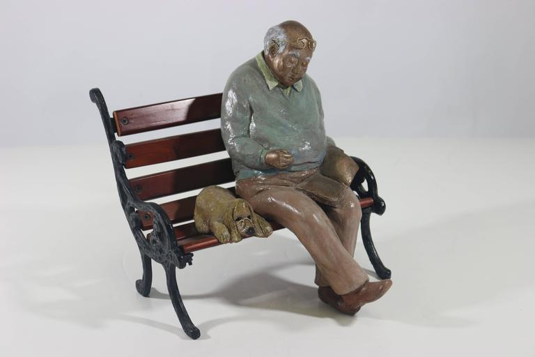 American Whimsical Folk Art Mixed Media Sculpture 'Waiting for Godot' 20th Century Artist For Sale