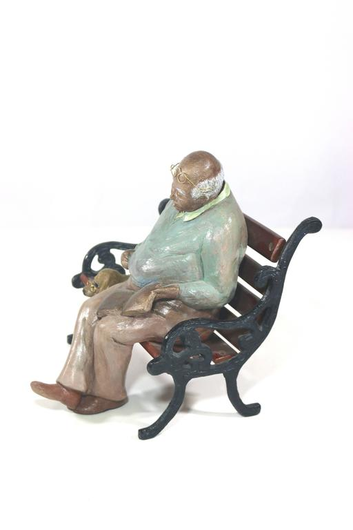 Whimsical Folk Art Mixed Media Sculpture 'Waiting for Godot' 20th Century Artist In Excellent Condition For Sale In West Palm Beach, FL