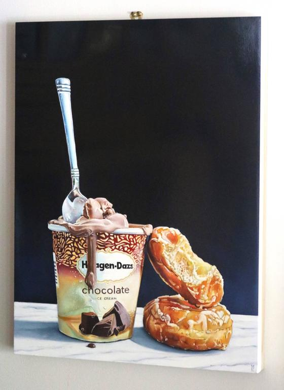 American Modern Contemporary Super Realist 'Yum' Oil on Wood Panel by M.E. For Sale