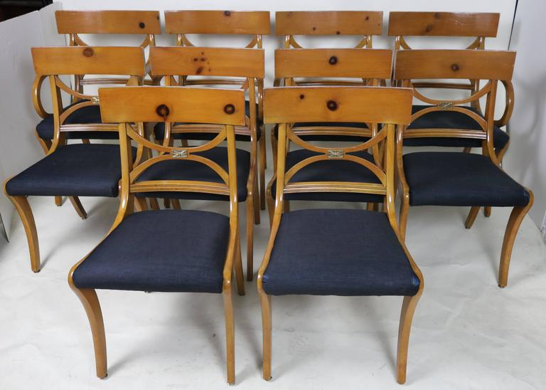 Set Of Ten Fruitwood Dining Chairs Elegant Ruhlmann Style Circa 1930s 1950s