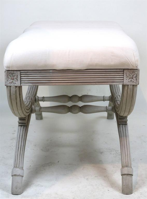 Wood Swedish Gustavian Bench Hand-Carved Details 'X' Ribbon, 19th Century For Sale