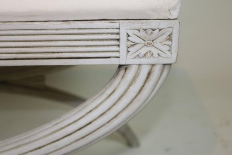 Swedish Gustavian Bench Hand-Carved Details 'X' Ribbon, 19th Century For Sale 2