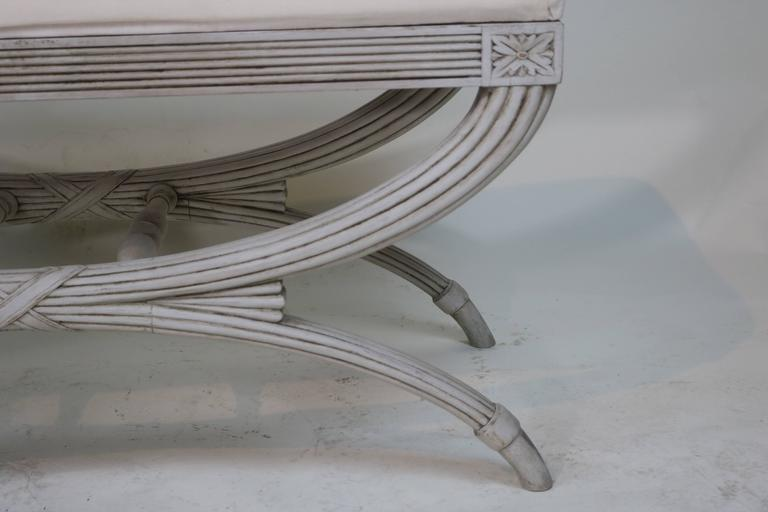 Swedish Gustavian Bench Hand-Carved Details 'X' Ribbon, 19th Century For Sale 3